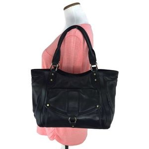 Cole Haan Black Smooth Leather Work Tote Large Bag